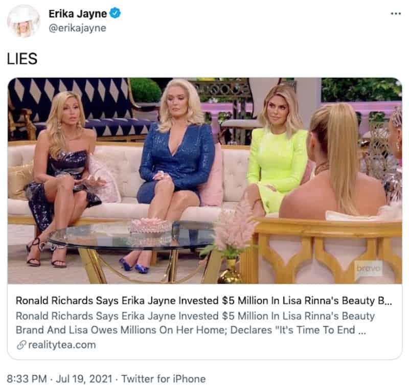 RHOBH Erika Jayne Denies Investing $5 Million in Rinna Beauty