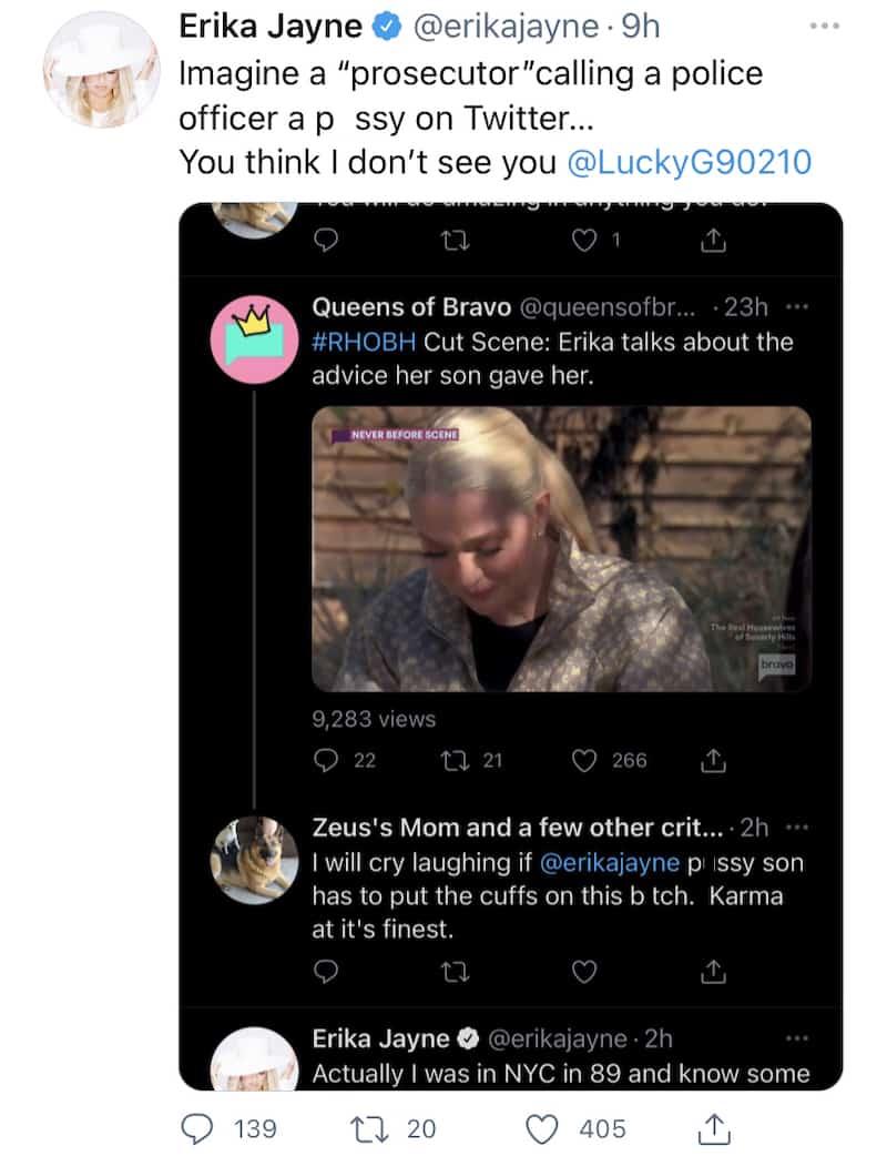RHOBH Erika Jayne Targets Twitter User Who Insults Son