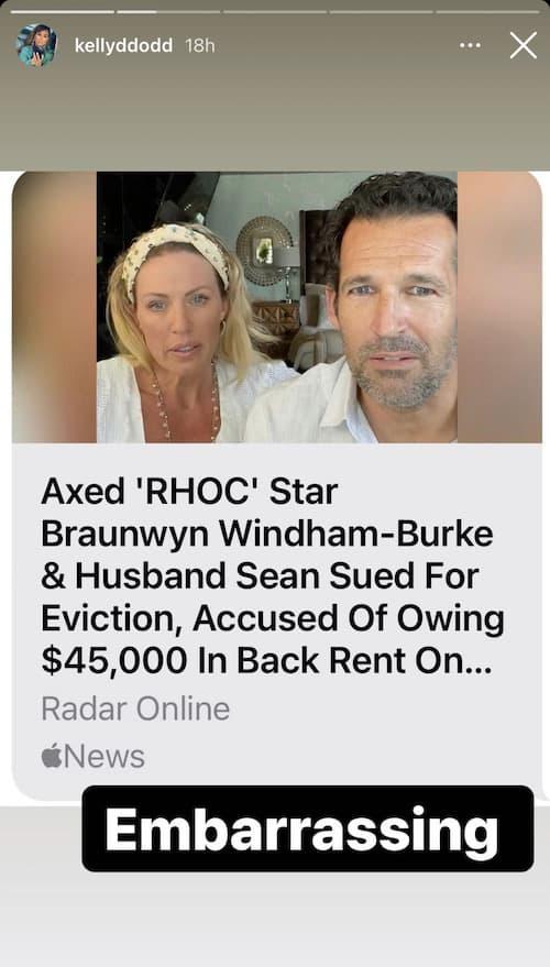 RHOC Kelly Dodd Calls Braunwyn Windham-Burke Embarassing Amid Eviction