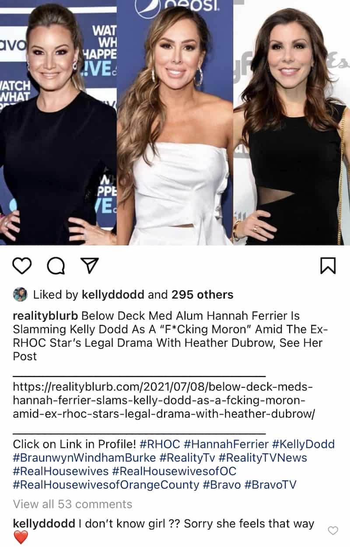 RHOC Kelly Dodd Reacts to Hannah Ferrier Diss