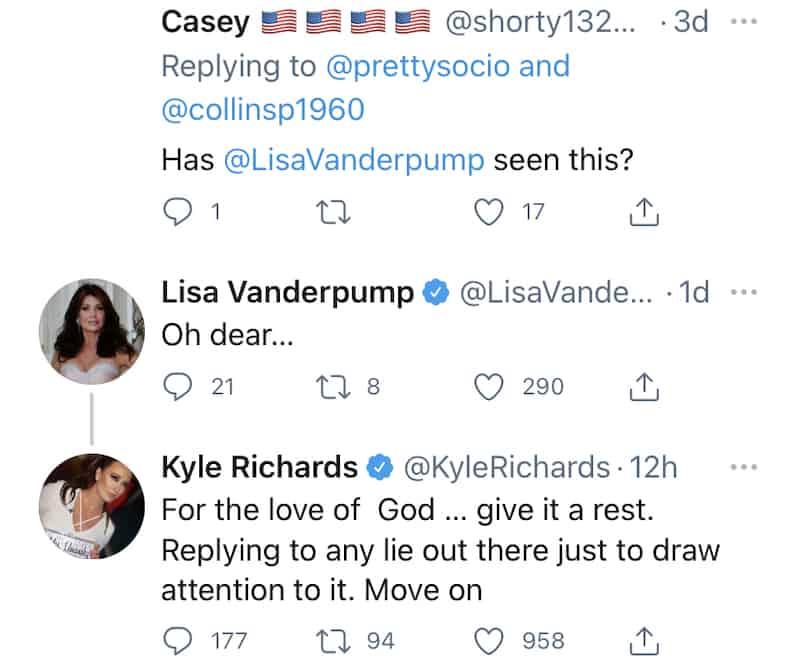 RHOBH Kyle Richards Tells Lisa Vanderpump to Move On After She Responds to False Rumor