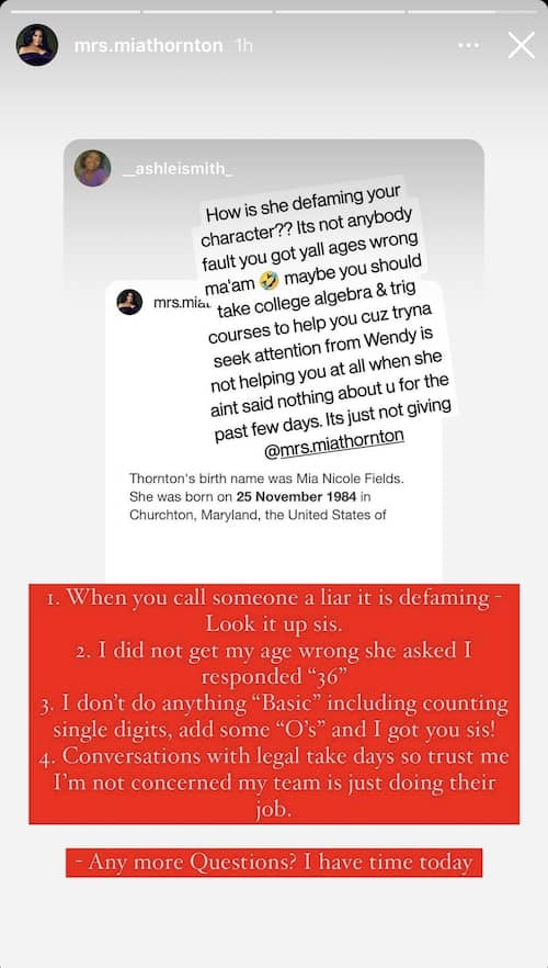 RHOP Mia Thornton Explains How Dr. Wendy Osefo Defamed Her