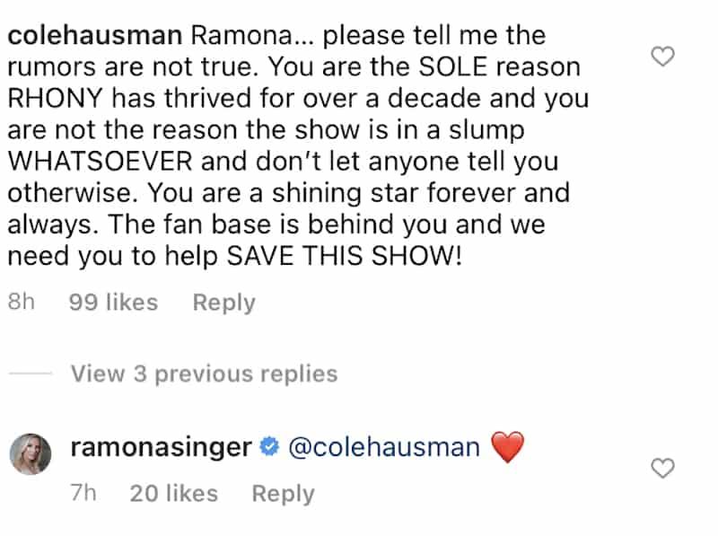 Ramona Singer Responds to RHONY Firing Rumor