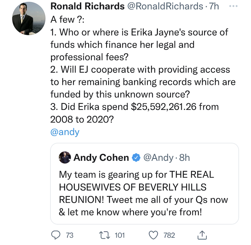 RHOBH Andy Cohen Gets Questions for RHOBH Reunion From Erika Jayne Attorney