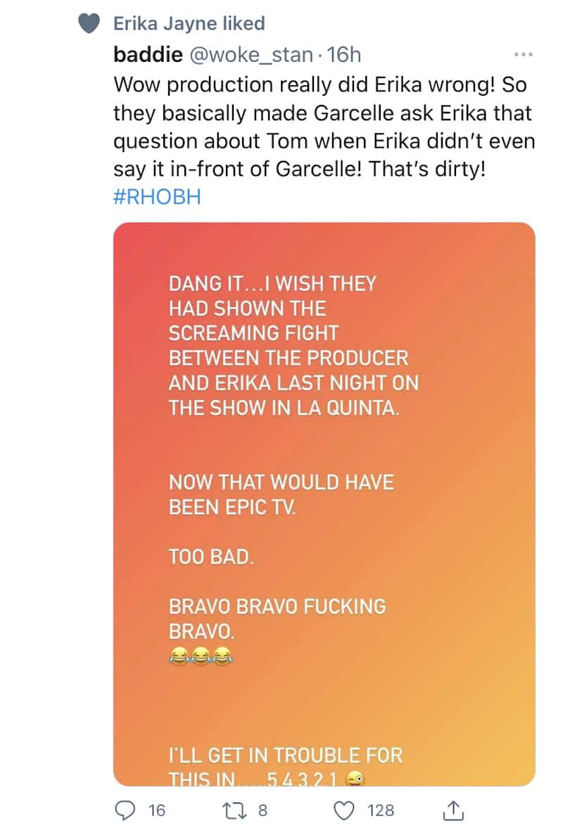 Erika Jayne Likes Post Saying RHOBH Producers Did Her Wrong