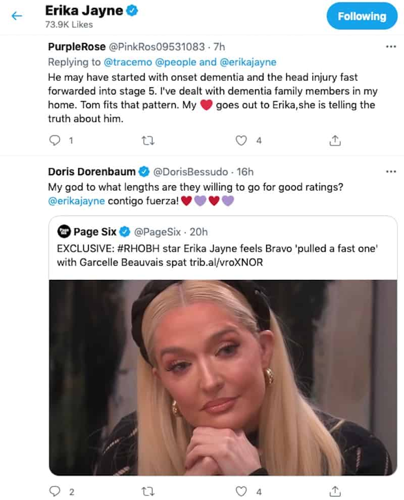 RHOBH Erika Jayne Likes Posts About Dementia and Garcelle Beauvais