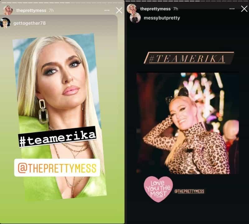 RHOBH Erika Jayne Reposts Team Erika Messages on Instagram