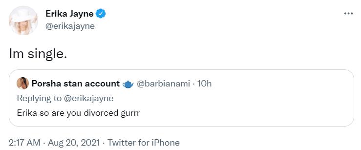 Erika Jayne shares relationship status on twitter