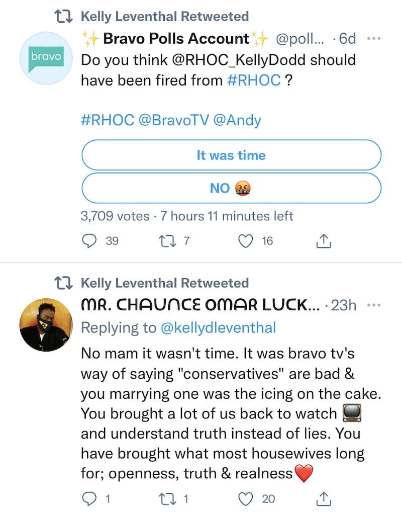 RHOC Kelly Dodd Re-Tweets Message From Fan Slamming Bravo for Politically-Led Firing