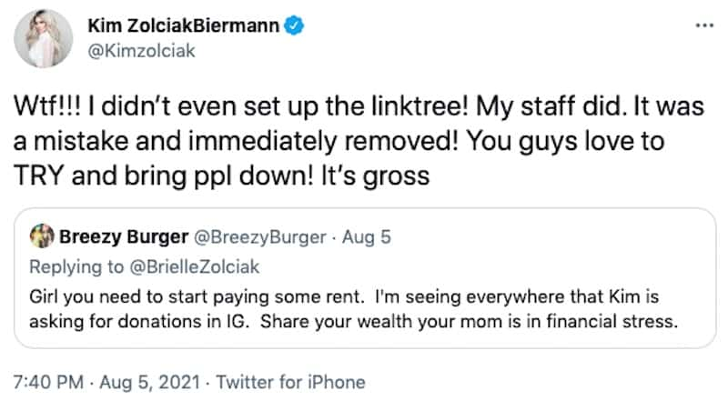 Don't Be Tardy Kim Zolciak Denies Requesting Donations After Fan Tells Brielle to Pay Rent