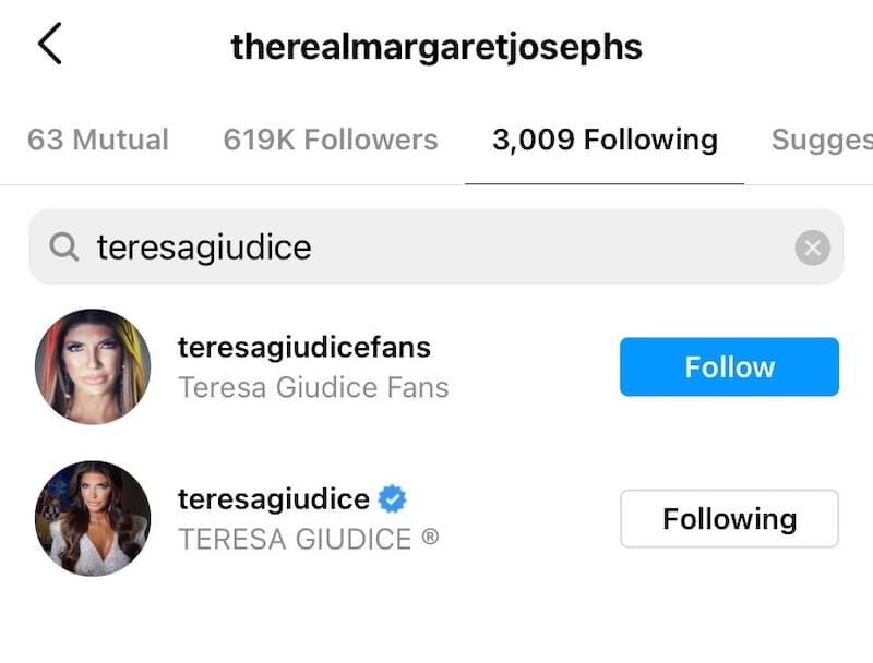 RHONJ Margaret Josephs is Still Following Teresa Giudice on Instagram