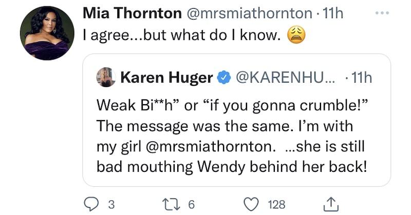 RHOP Mia Thornton Agrees With Karen Huger After Gizelle Bryant Talks Behind Wendy Osefo's Back