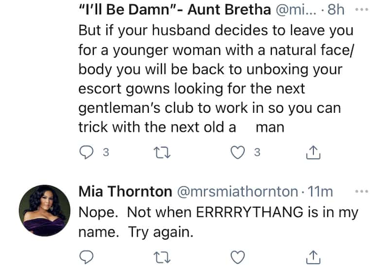 RHOP Mia Thornton Claps Back After Fan Suggests Husband Will Leave Her
