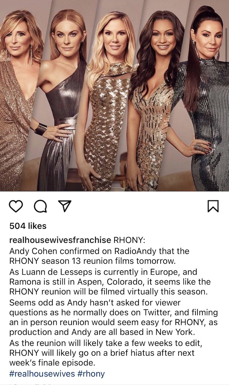 RHONY Season 13 Reunion to Be Filmed Virtually