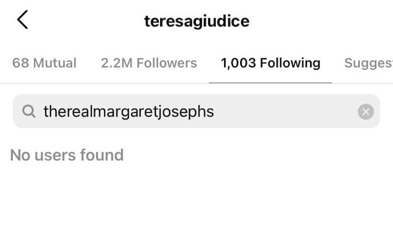 RHONJ Teresa Giudice Unfollows Margaret Josephs on Instagram