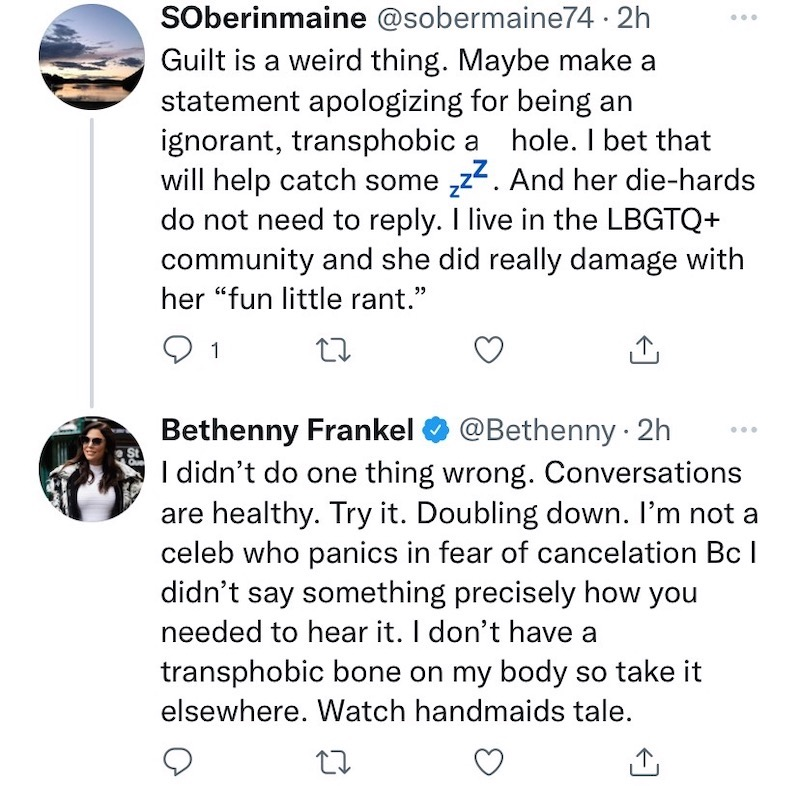 RHONY Bethenny Frankel Doubles Down After Transphobia Claims