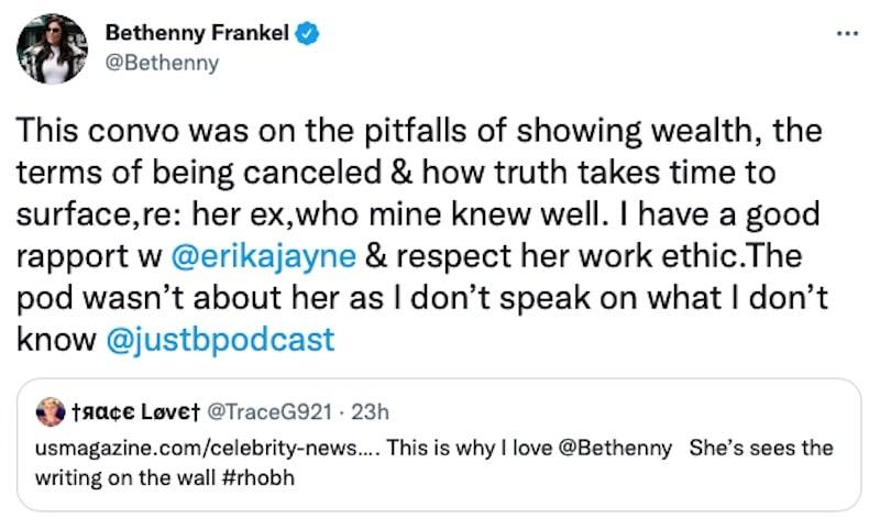 bethenny frankel explains podcast episode about erika jayne