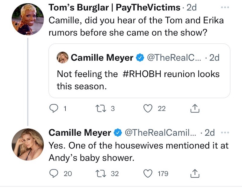 rhobh camille grammer heard erika jayne rumors at andy cohen baby shower
