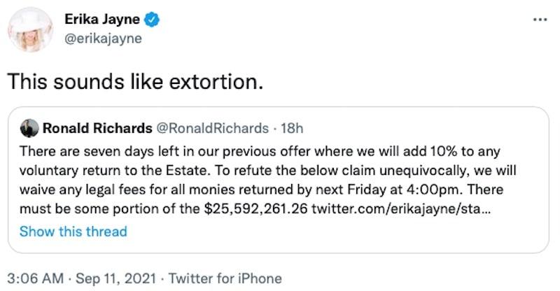 RHOBH Erika Jayne Accuses Attorney of Extortion