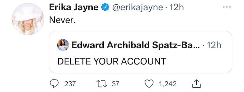 RHOBH Erika Jayne Refuses to Delete Twitter Account