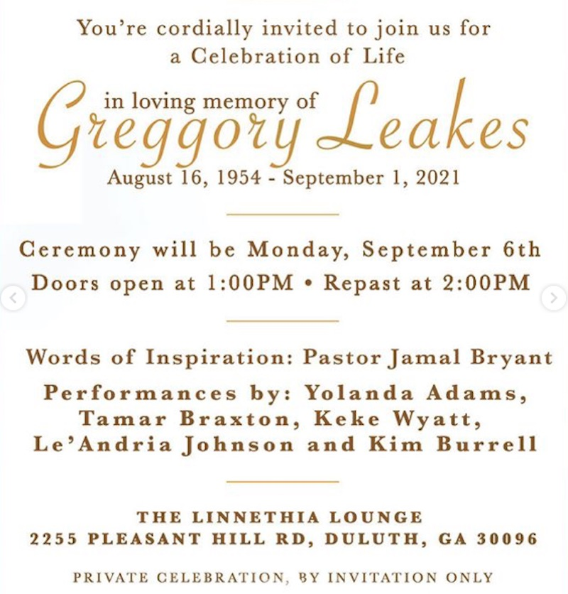 RHOA Gregg Leakes Celebration of Life Invitation