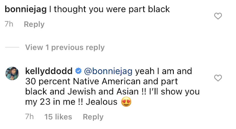rhoc kelly dodd responds to fan who reminds her she's part black