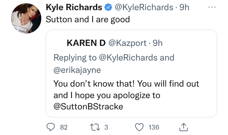 RHOBH Kyle Richards Confiirms She and Sutton Stracke Are in a Good Place Today