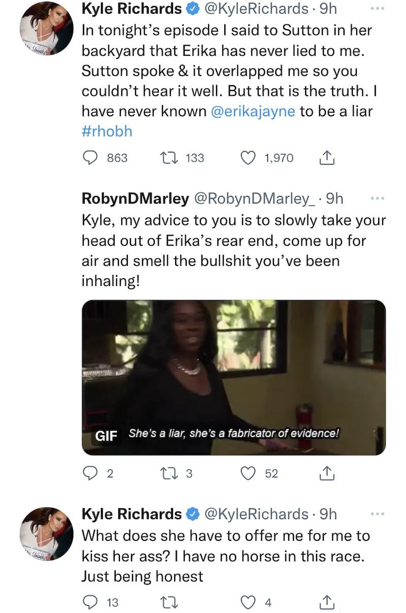 RHOBH Kyle Richards Denies Sucking Up to Erika Jayne, Says She's No Liar