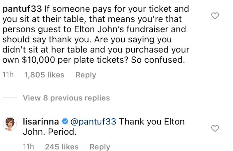 rhobh lisa rinna thanks elton john for table at gala amid sutton stracke drama