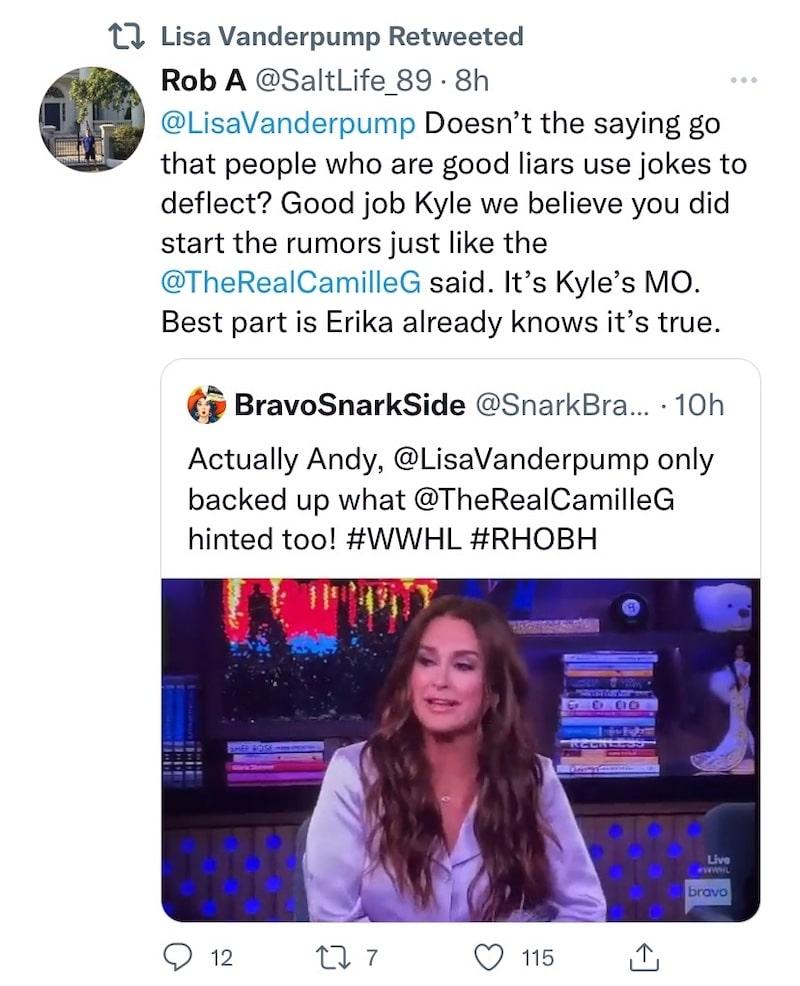 RHOBH Lisa Vanderpump Re-Tweets Post About Kyle Richards Lying on WWHL