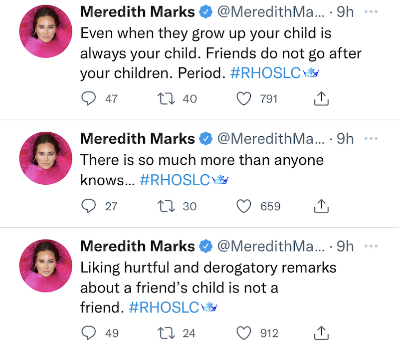 RHOSLC Meredith Marks Slams Jen Shah for Liking Derogatory Things About Son Brooks
