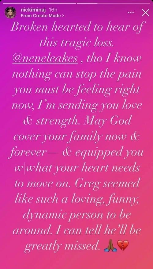 Nicki Minaj Reacts to Gregg Leakes Death
