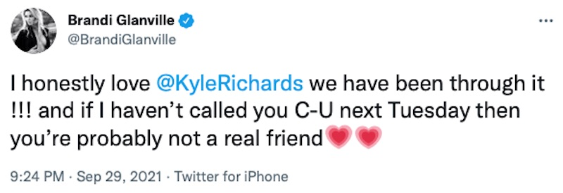 RHOBH Brandi Glanville Responds to Kyle Richards Scary Text Reveal