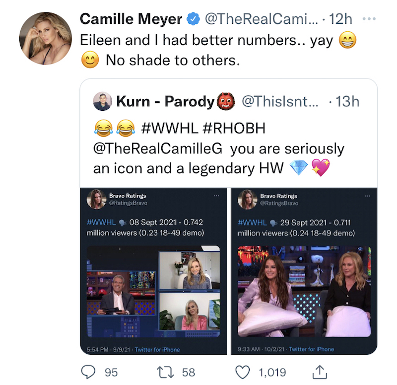 rhobh camille grammer on getting better wwhl ratings than kyle richards and kathy hilton