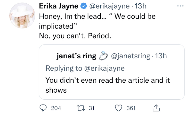 rhobh erika jayne reacts to garcelle beauvais fearing implication
