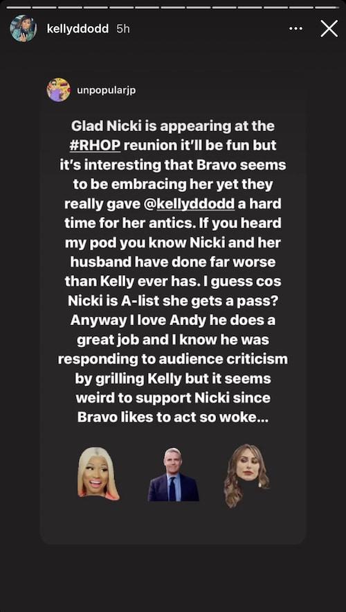 rhoc kelly dodd reacts to nicki minaj hosting rhop reunion
