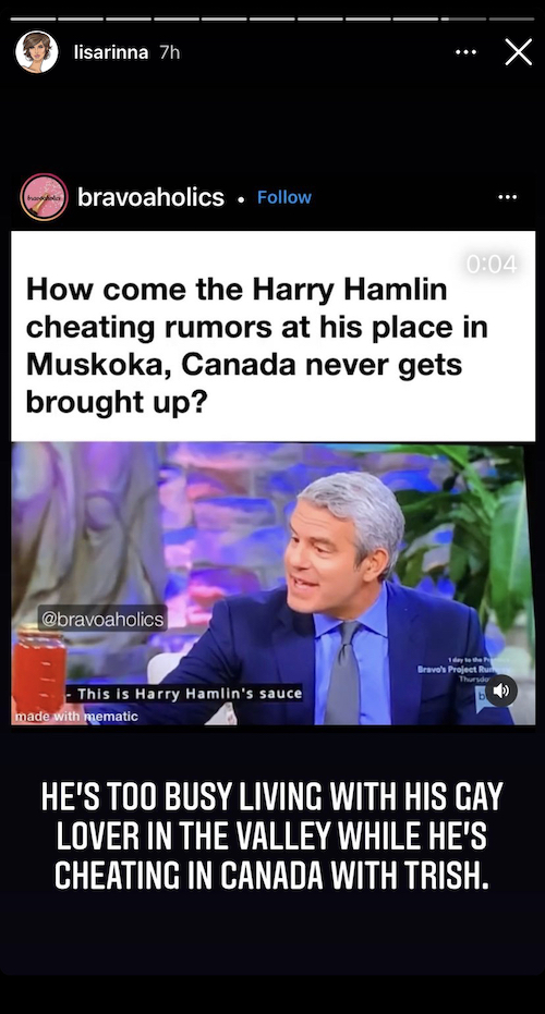 rhobh lisa rinna reacts to harry hamlin cheating rumors