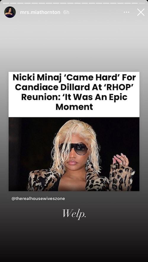 rhop mia thornton reacts to nicki minaj coming for candiace at rhop reunion