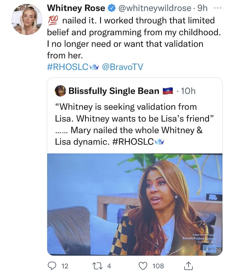 rhoslc whitney rose no longer needs lisa barlow's validation