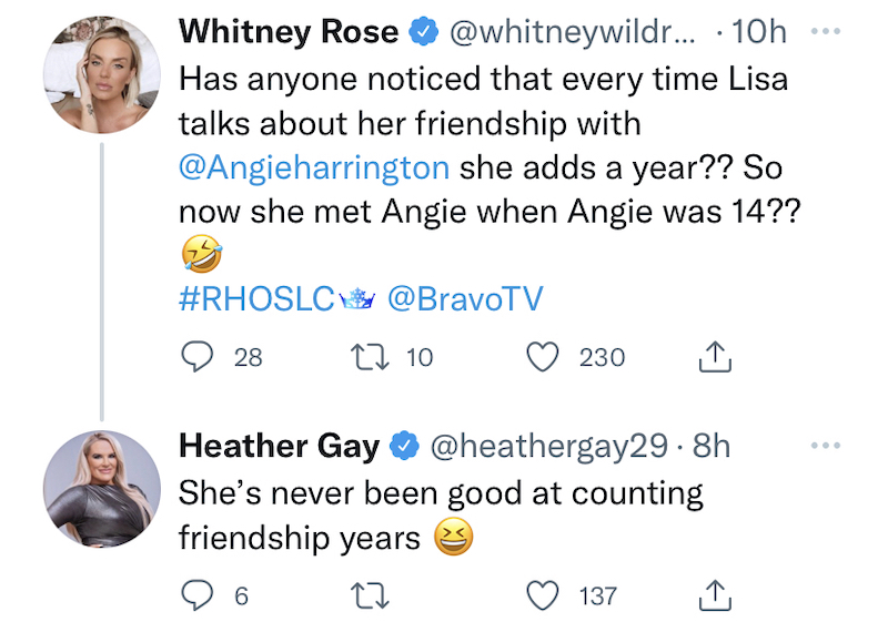rhoslc whitney rose and heather gay suggest lisa barlow lied about angie